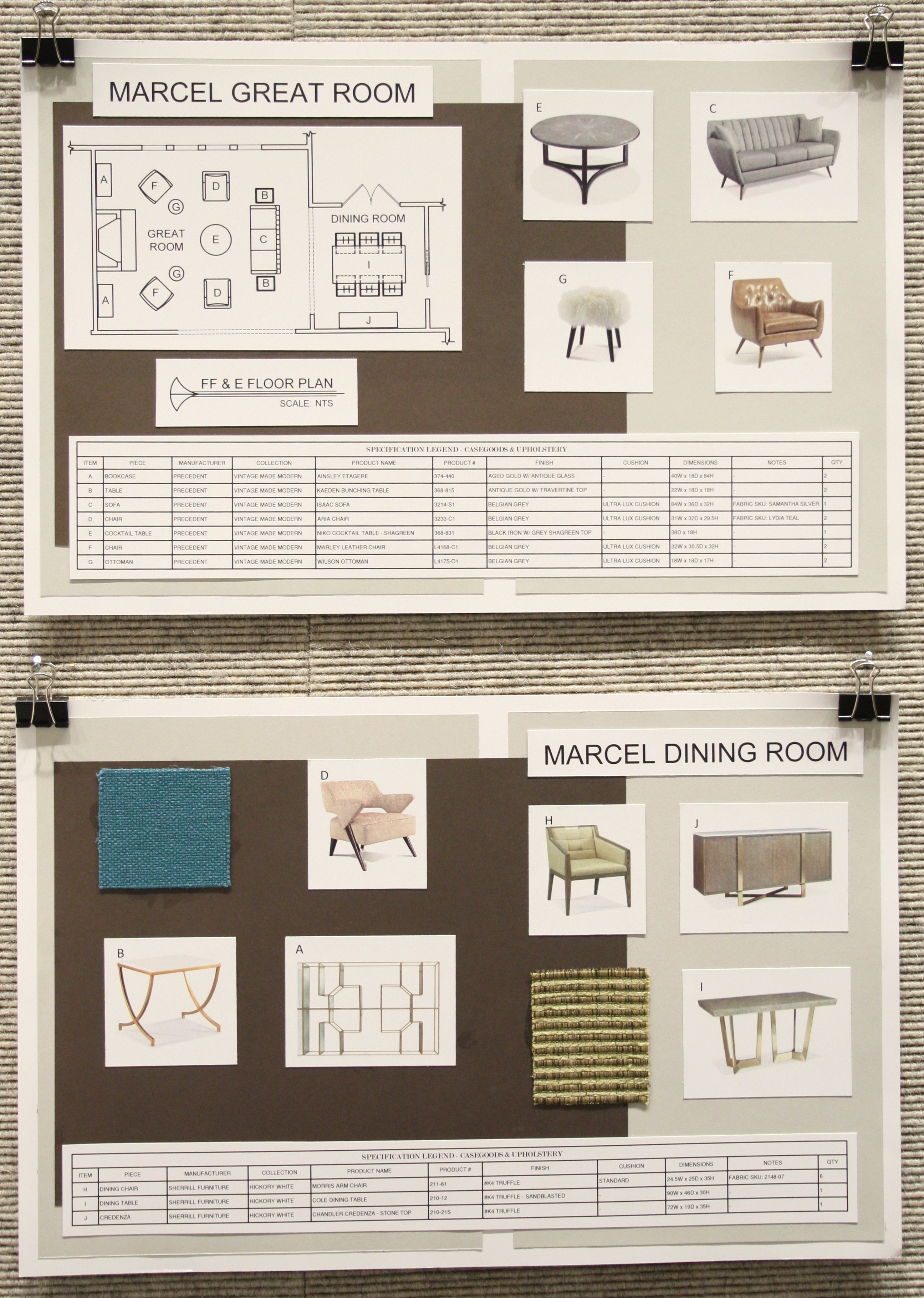 Drawings and plans for living room and dining room interior.