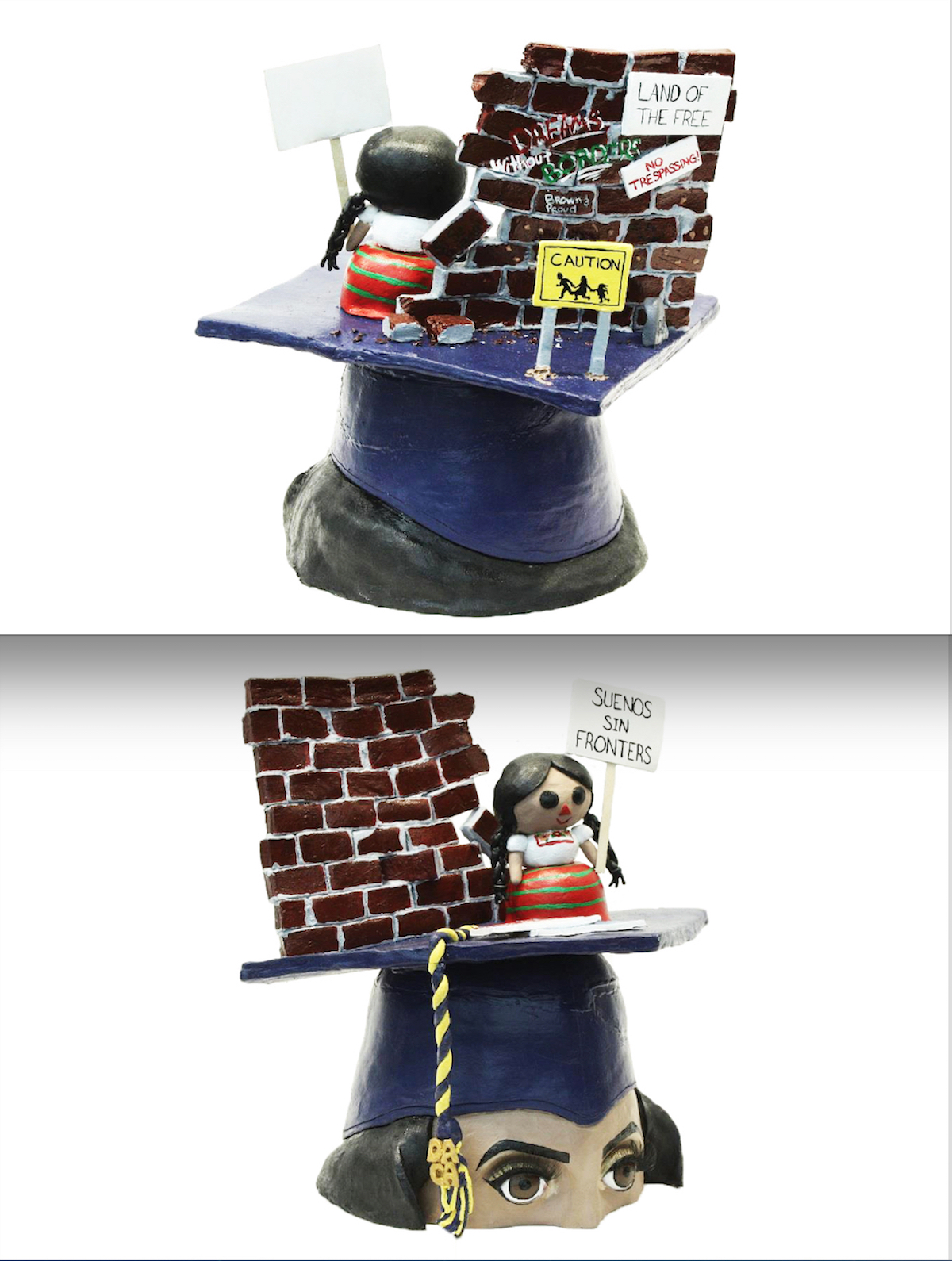 3D ceramic sculpture of young girl in front of brick wall on top of mortarboard graduation cap on a female head with black hair and dark eyes.