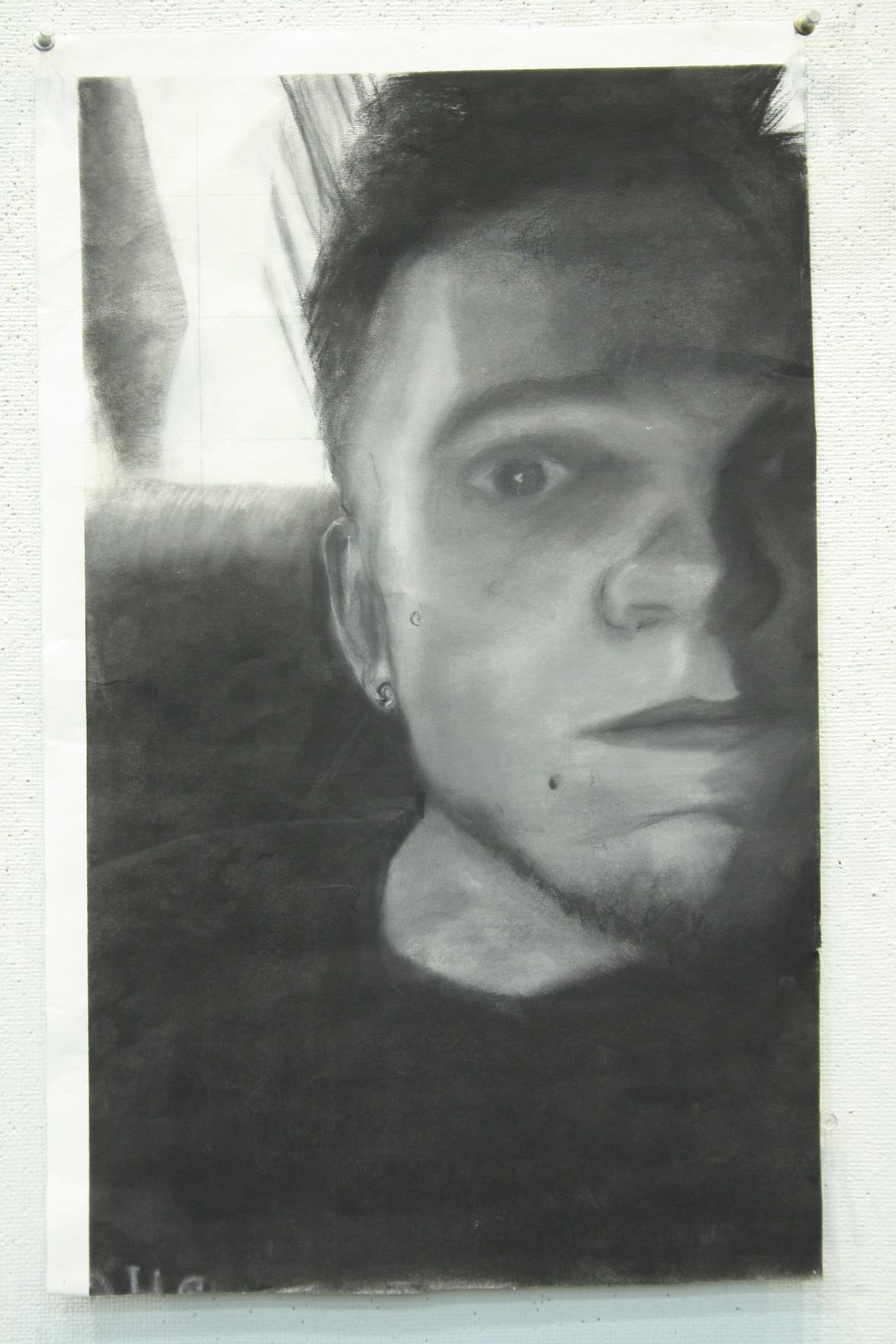 Self Portrait chalk drawing by Joe Bartkowiak