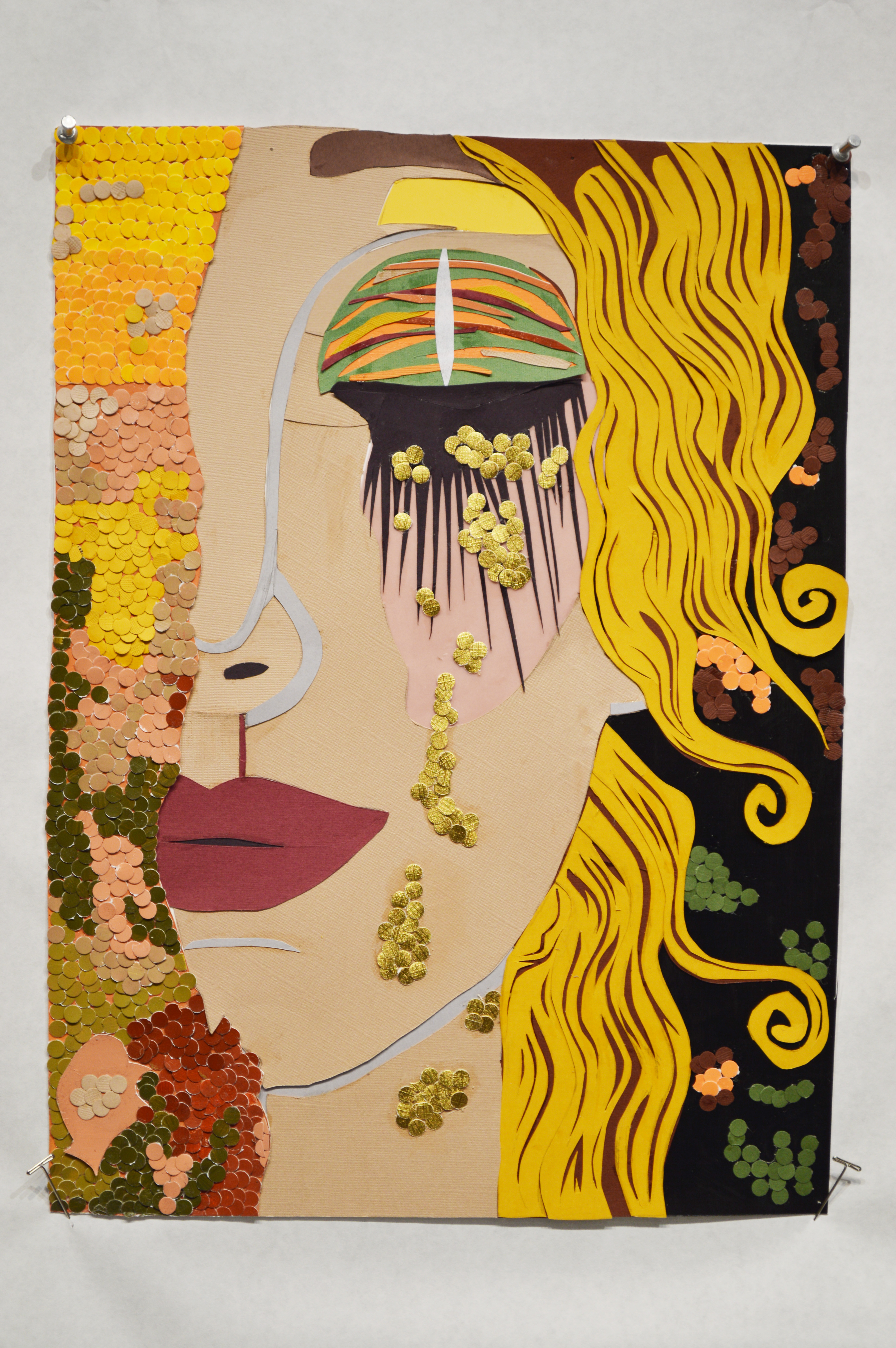 Painting in the style of Gustav Klimt of the side of a face with gold eyeshadow and red lipstick and yellow wavy hair.