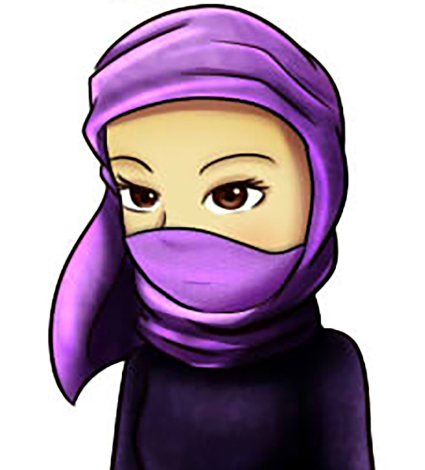 Cartoon of girl wearing a purple scarf on her head and covering her mouth.