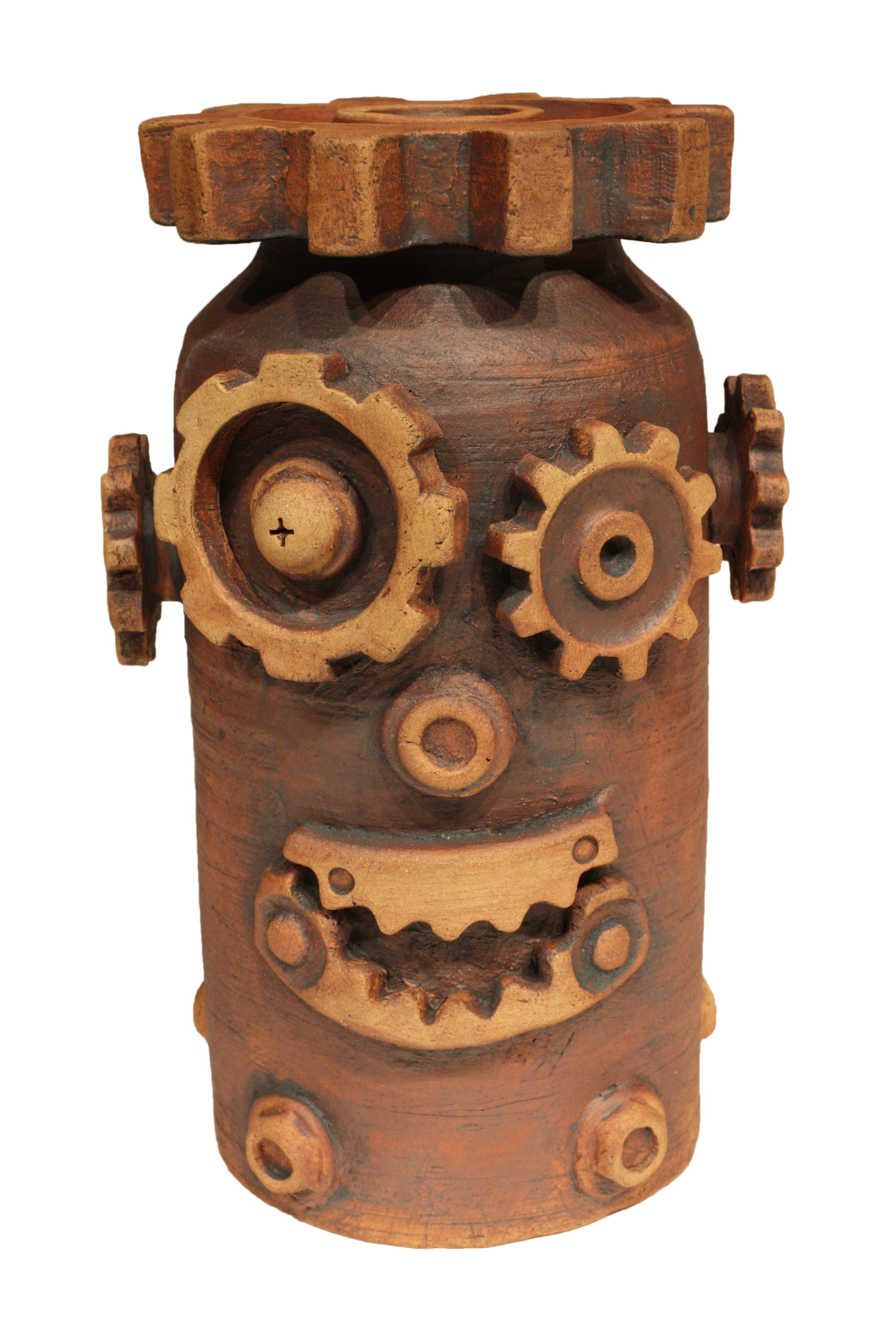 Gears on a jar forming a robotic face.