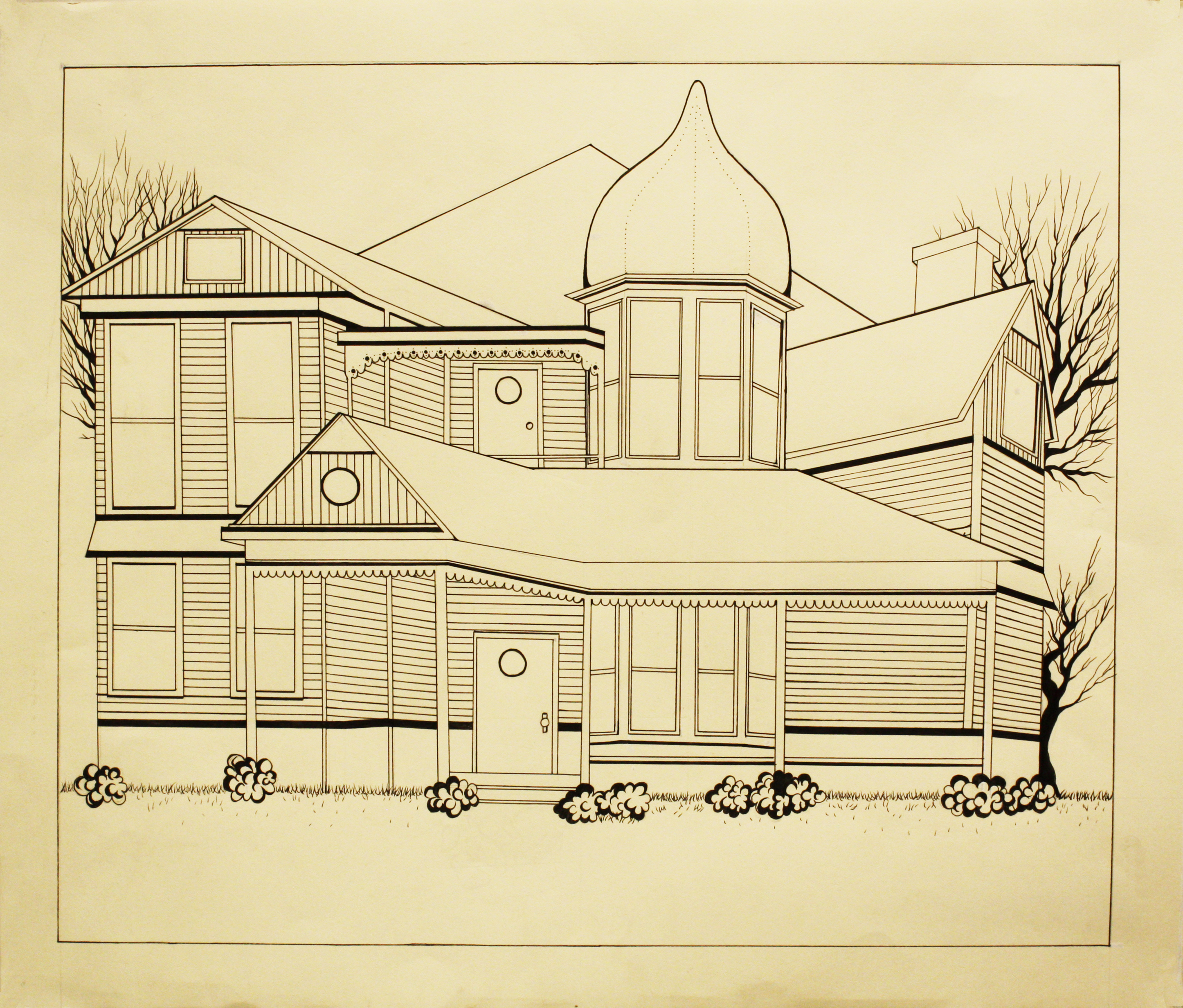 Drawing of a house with mountains in the background.