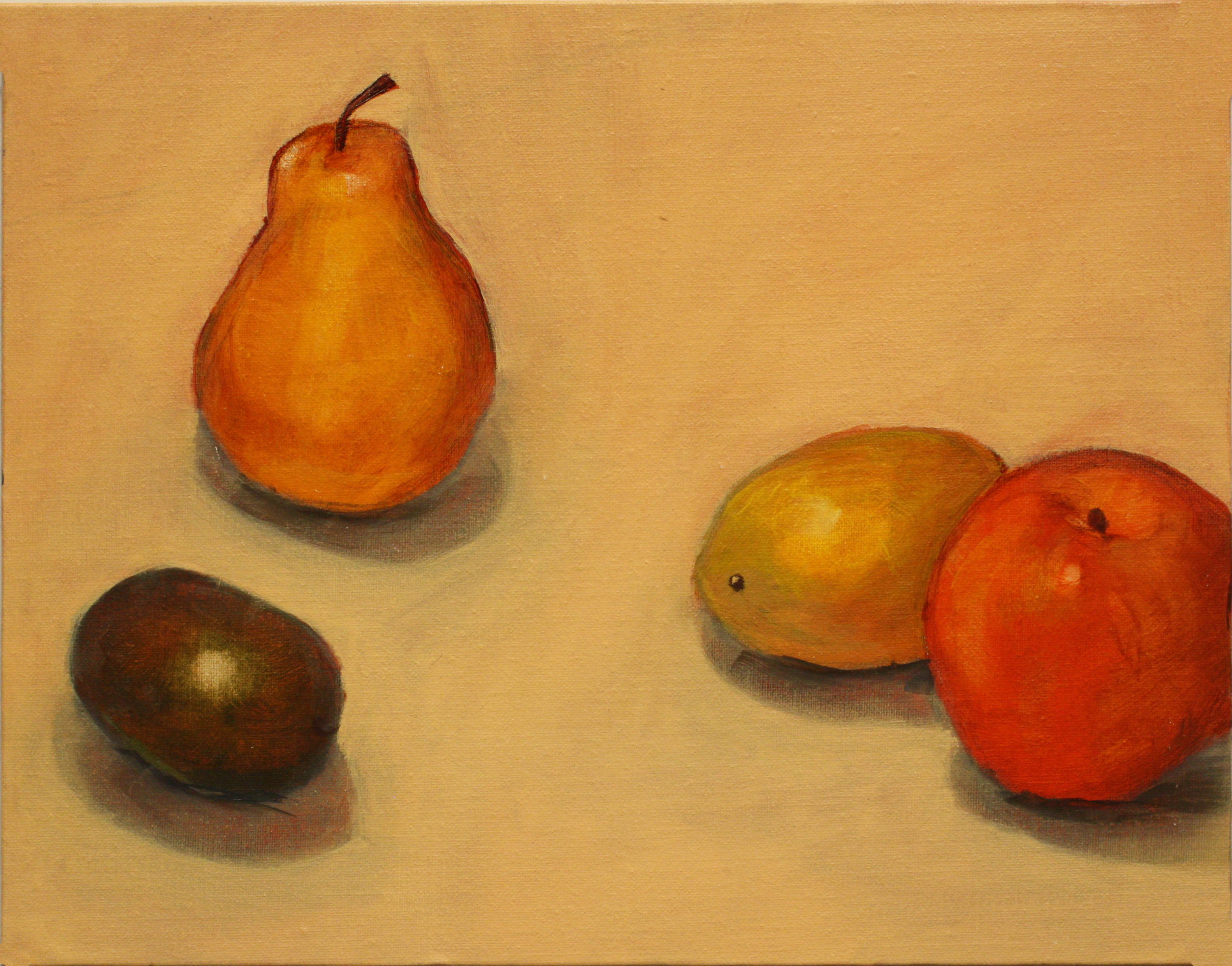 Painting of plum, orange, lemon, and pear.