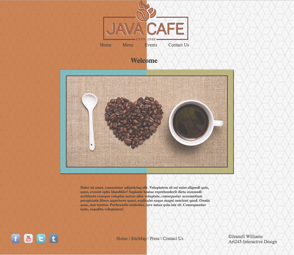 Design of a website front page featuring coffee