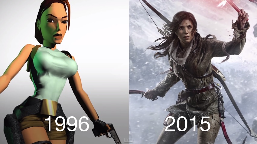 Image video game character Lara Croft from 1996 game compared with 2015 game