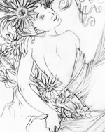 Black and white pencil drawing of woman with bared back looking over her right shoulder at the viewer. In her long flowing hair is a large daisy. She is wrapped in linen except for her bare right shoulder and her back down to her midsection.