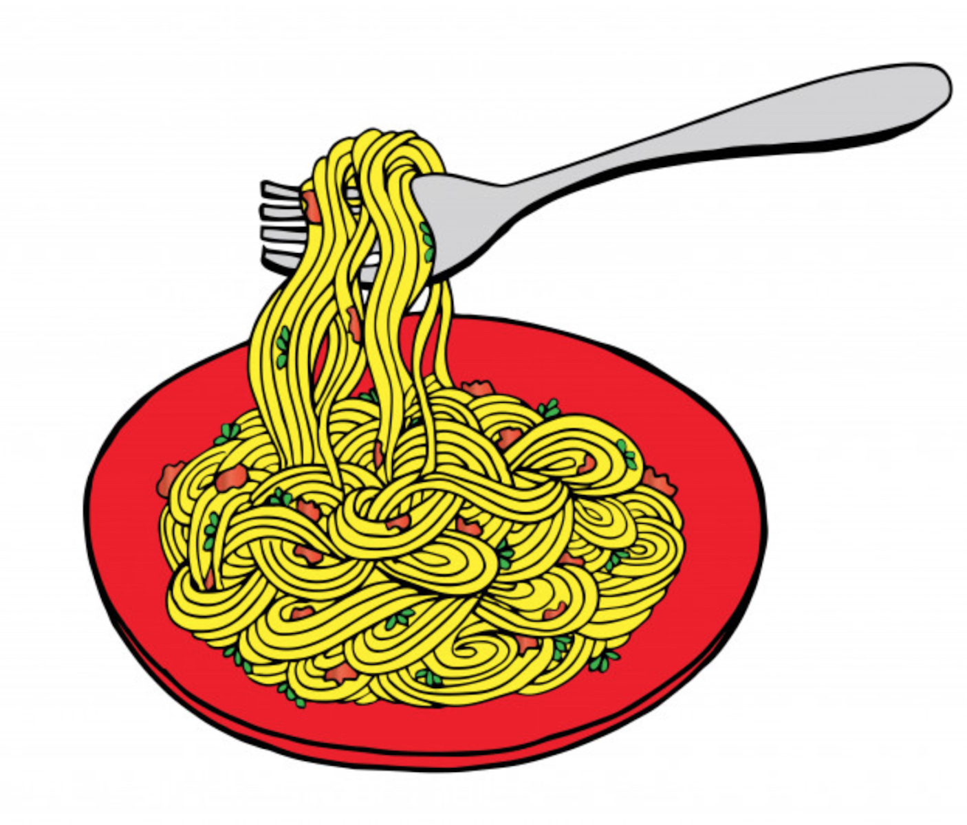 Drawing of spaghetti in a bowl with a fork