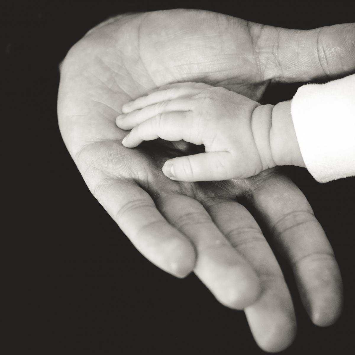 Black and white photo of hand holding infants hand. Photo by Liane Metzler from StockSnap.io