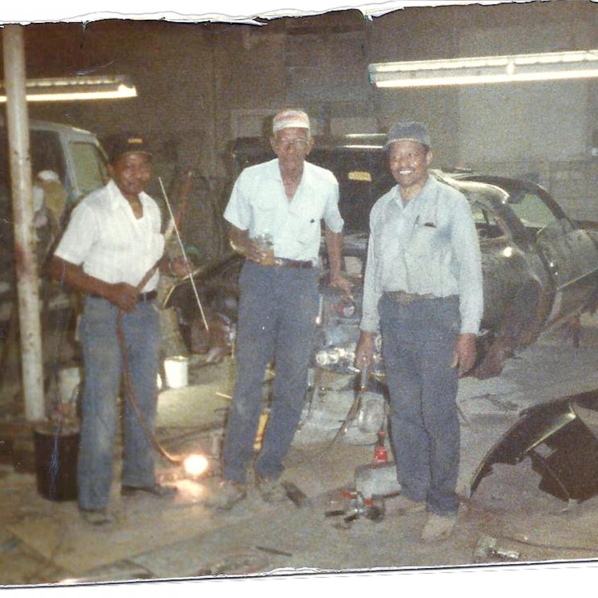 Three elderly African American auto-workers