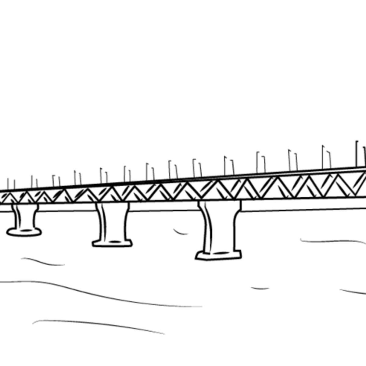 Drawing of a street bridge