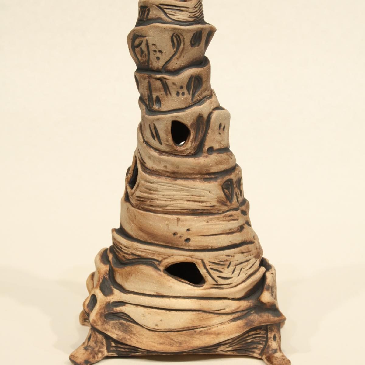 "Denise Widen ""Tower""; sculpture of earthy tower"