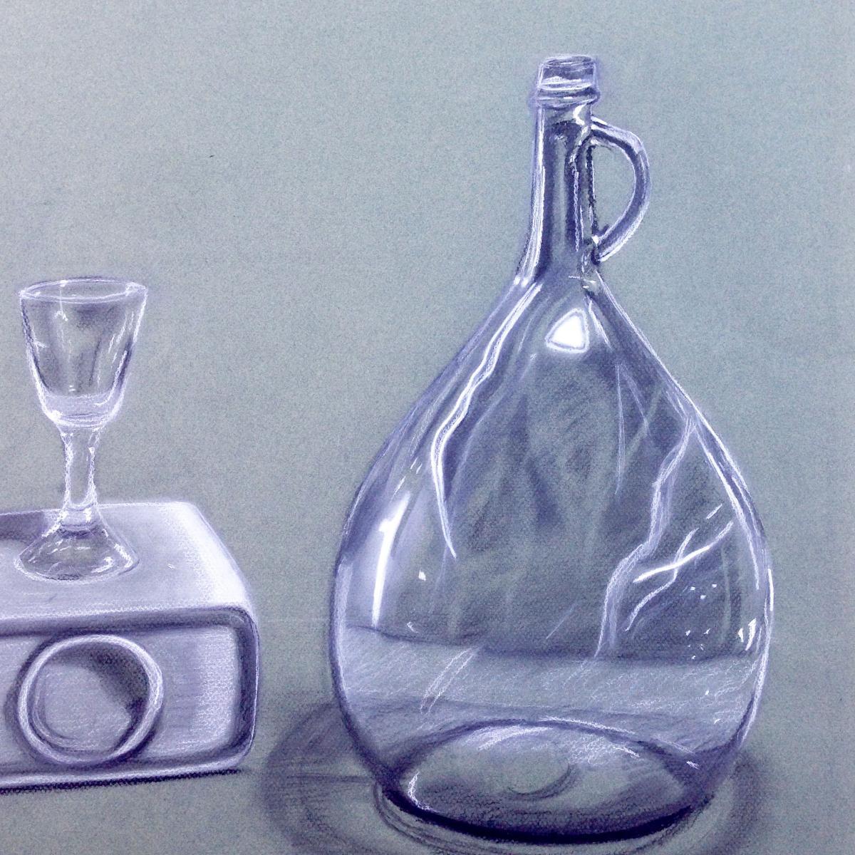 Chalk drawing of lavender tear-drop shaped perfume bottle.