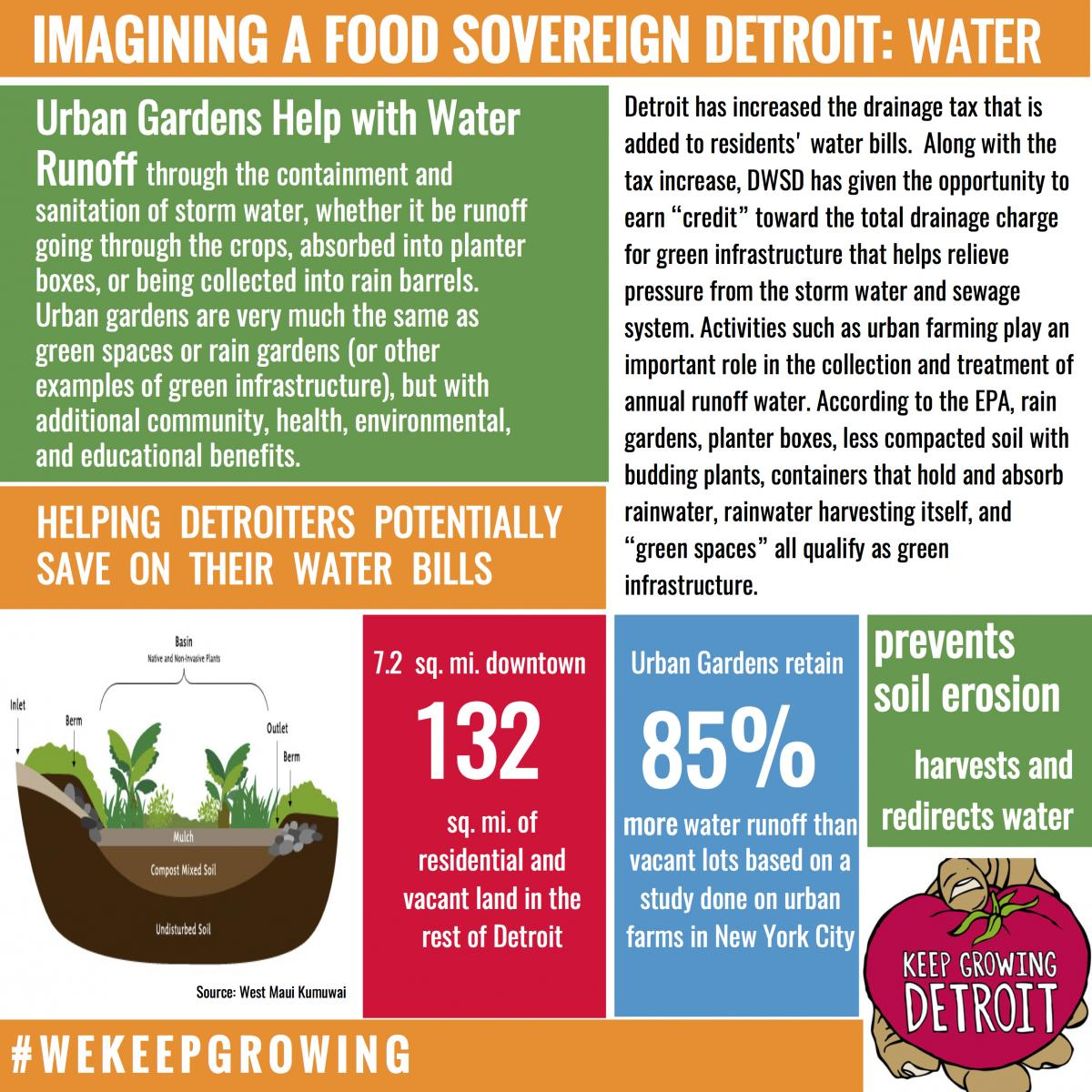 Infographic of research on benefits of urban gardens to mitigate storm water runoff.