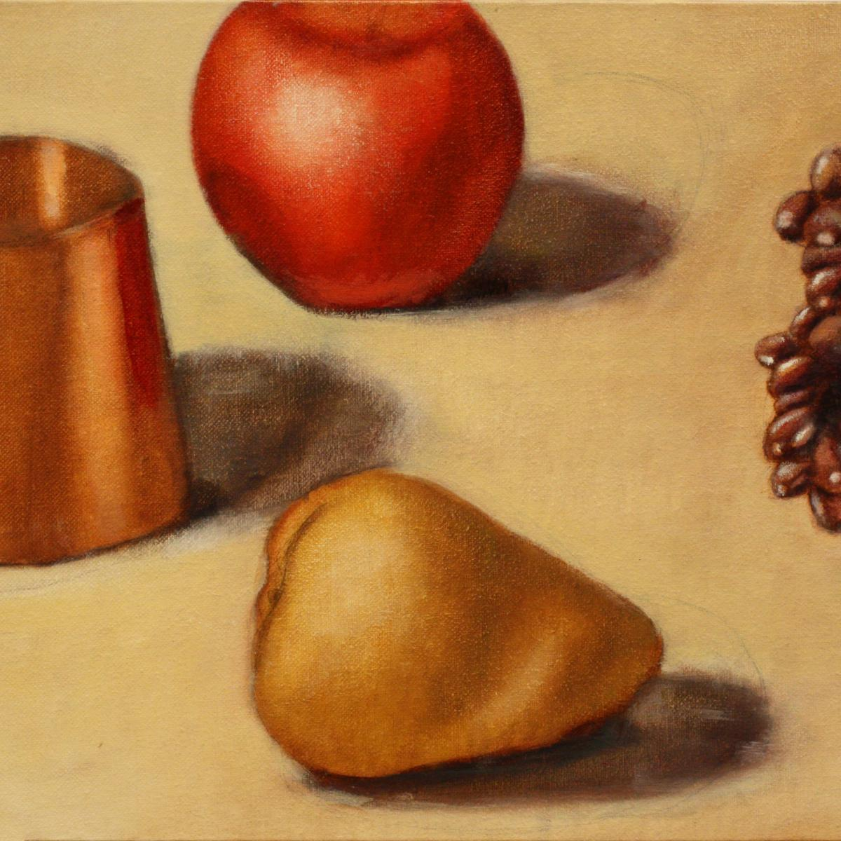 Painting of cup, apple, pear, and grapes