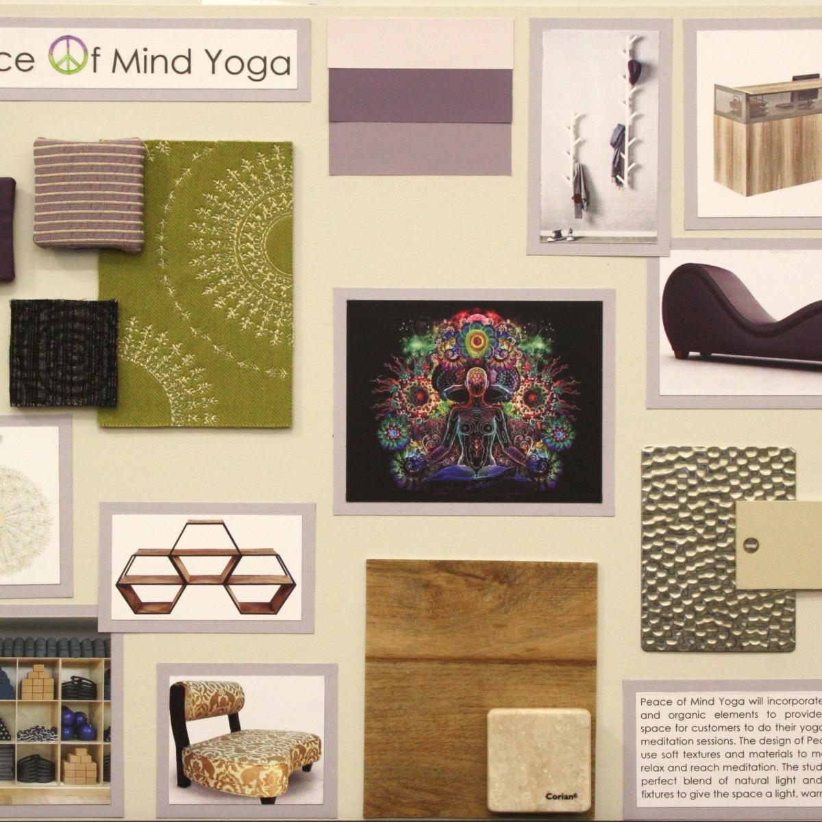Concept board for the interior design of a yoga studio.