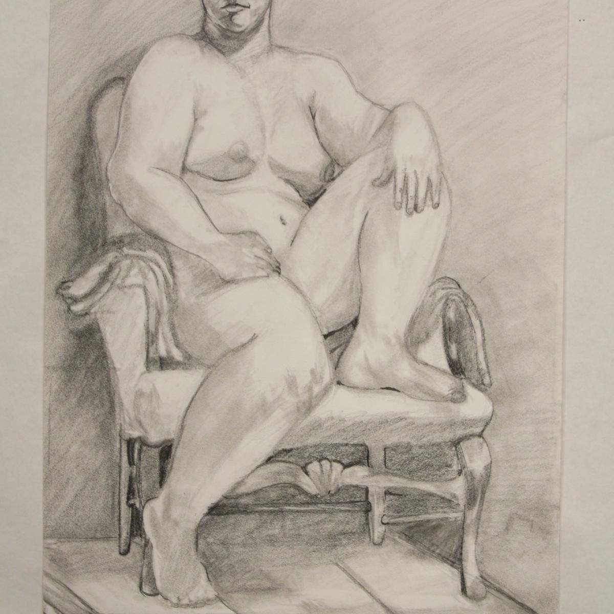 Drawing of a nude on a chair.
