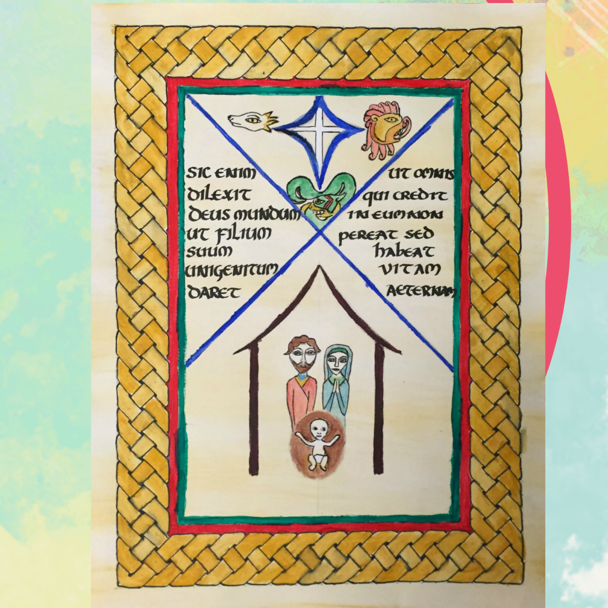 Drawing of illustration approximating calligraphy from Book of Kells