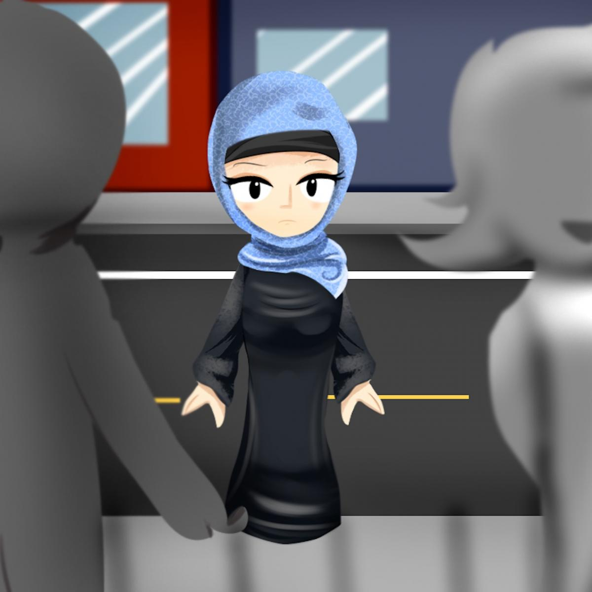 Drawing of a Muslim girl in a hijab walking in between a crowd.