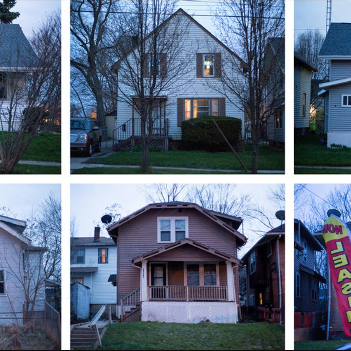 Photo of blighted homes in Flint, Michigan