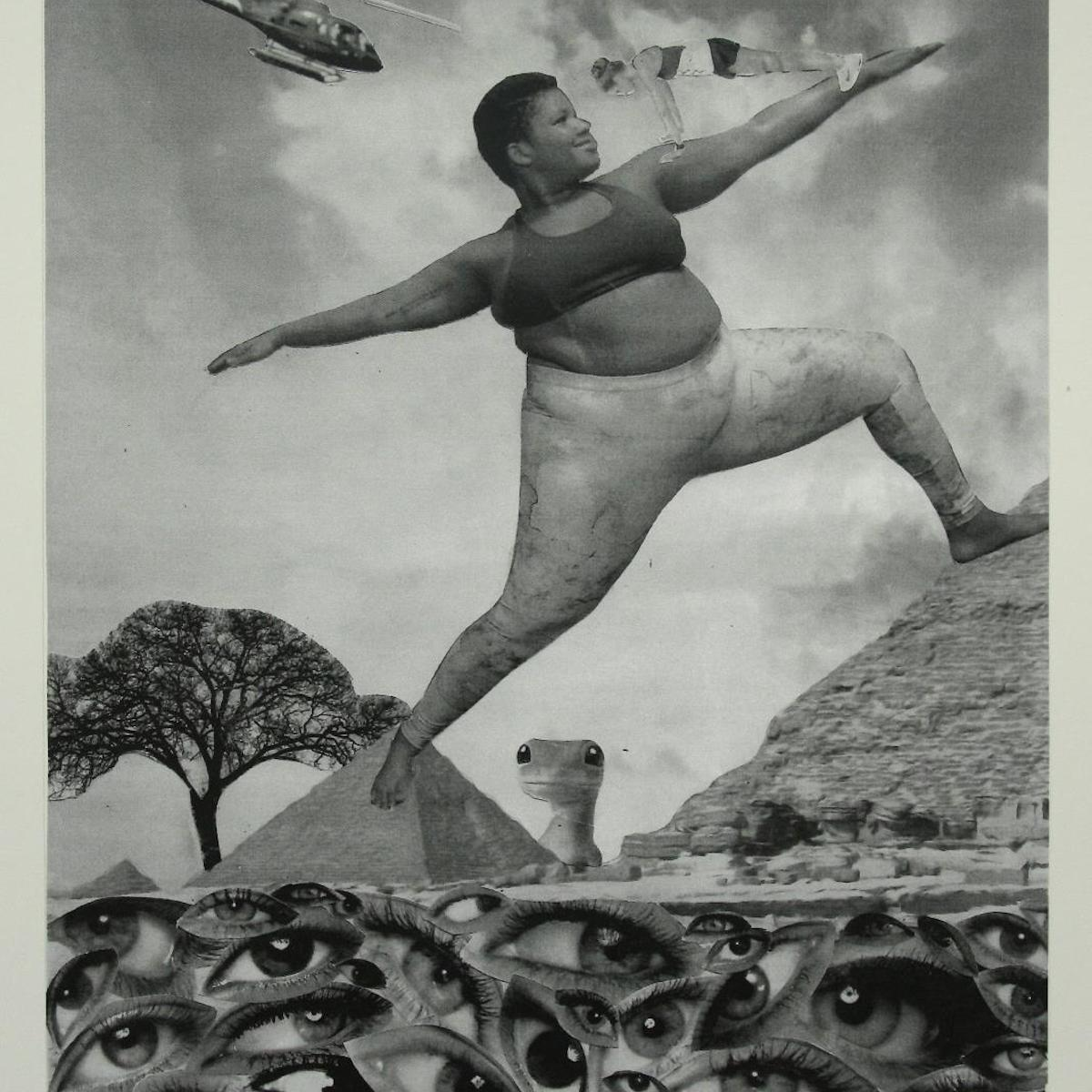 2D black and white collage of black woman climbing above pyramids with several cutout eyes looking at the viewer.