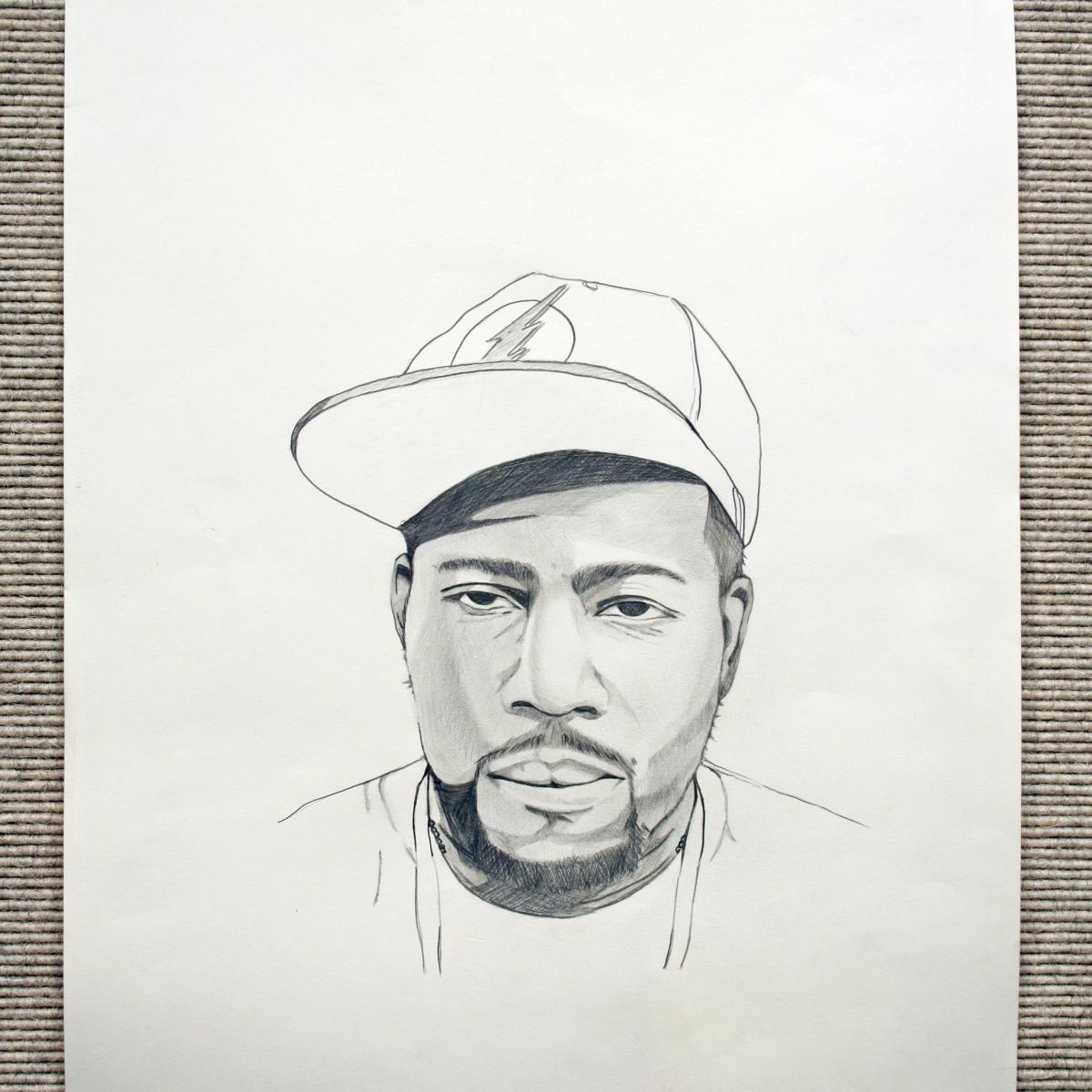 Sketch of self-portrait of Angelo Britt wearing a baseball cap.