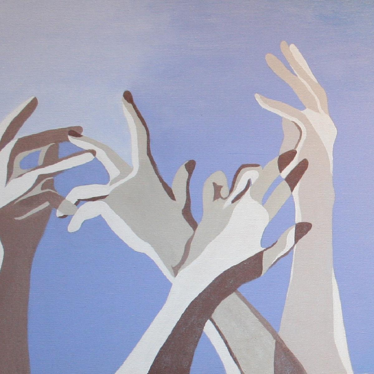 Graphic of several hands reaching upward