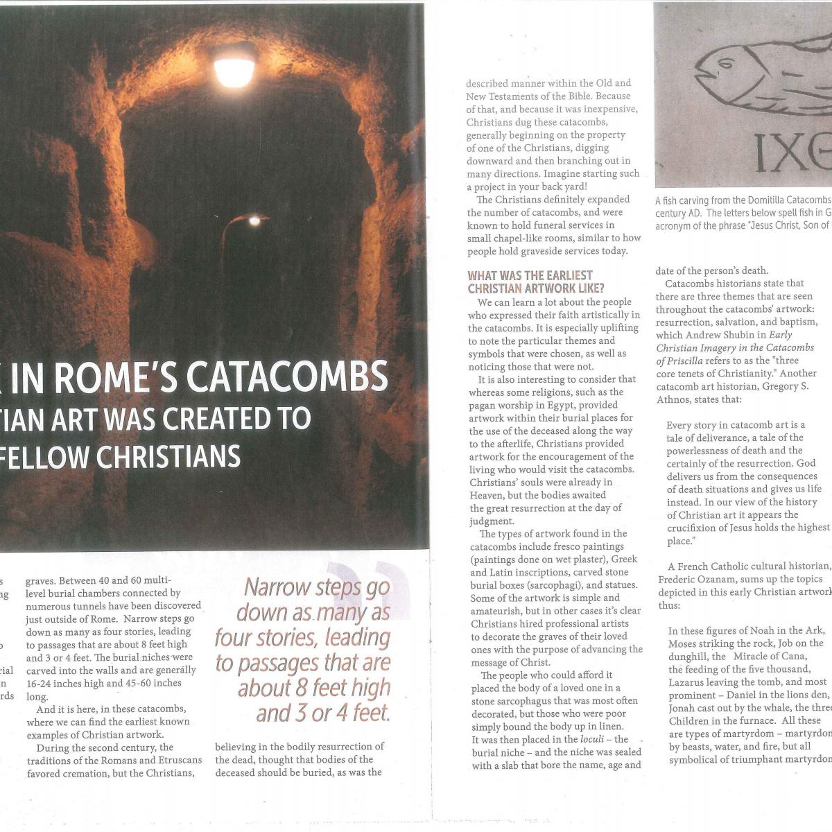 Magazine page showing photo of Roman catacombs and art history text