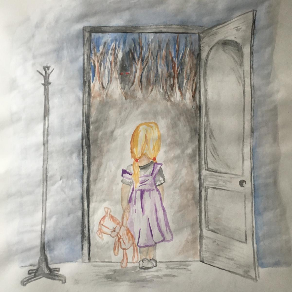 Water color drawing of young girl looking outside an open door with a tall floor lamp adjacent to the door.