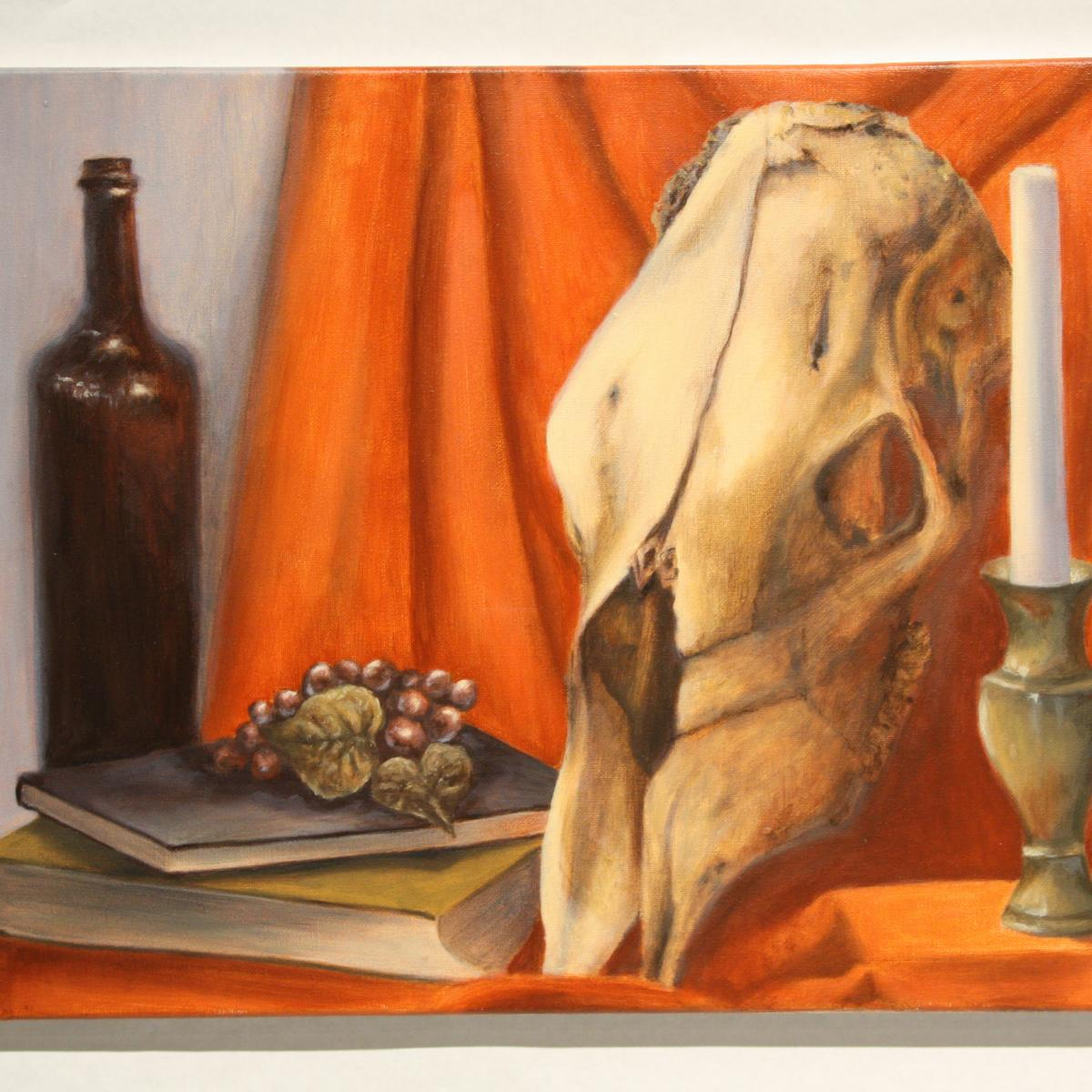 Painting of animal skull with orange drapery and candle and wine bottle.