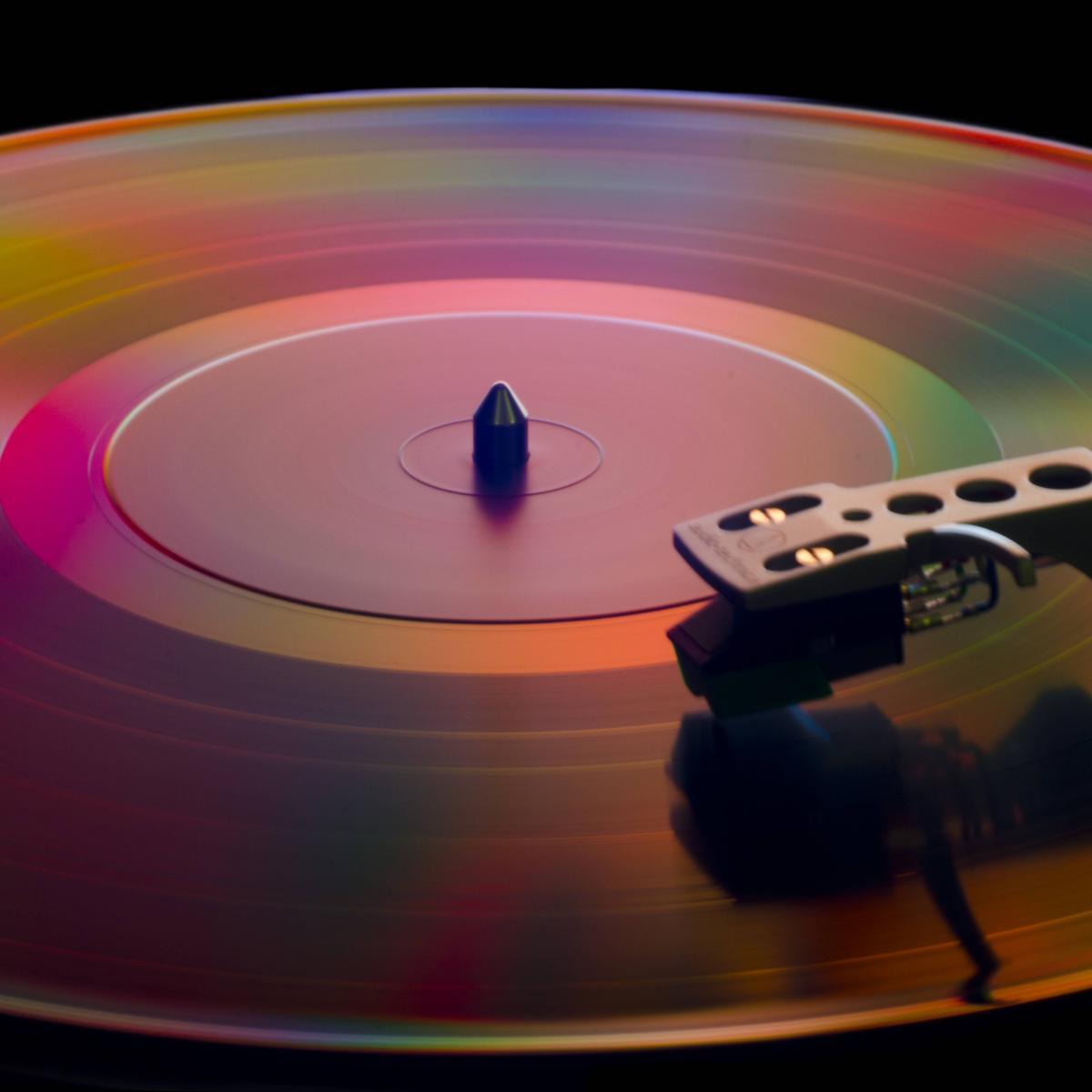 Spinning vinyl record