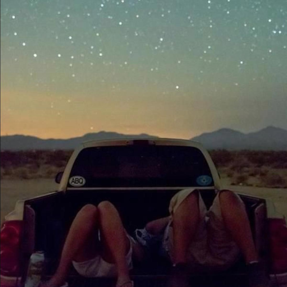 Stargazing car stock image