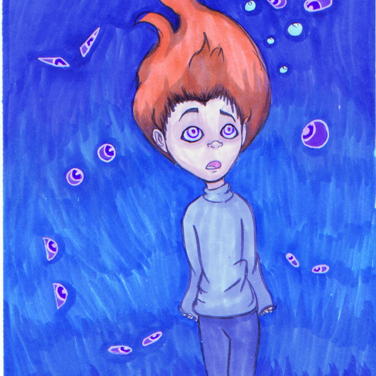 Ink drawing of young girl with red hair and wearing a sweater and jeans under water with her long hair floating.