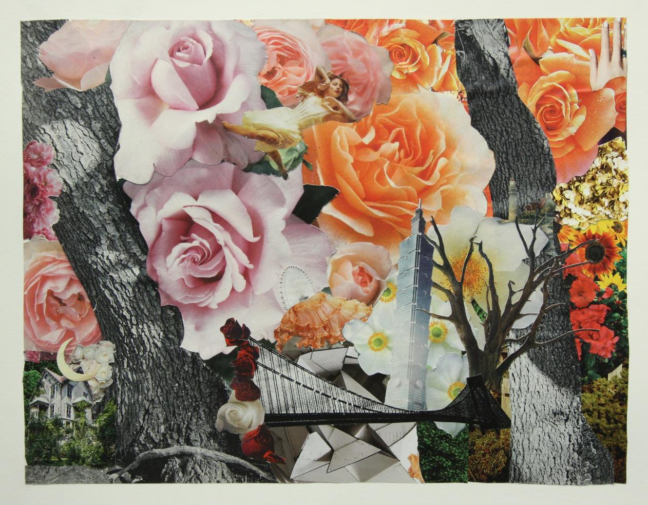 Collage of flowers, trees, bridge, building, and an old house.